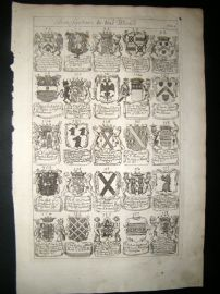 Richard Blome 1686 Folio Antique Print. Heraldry 5